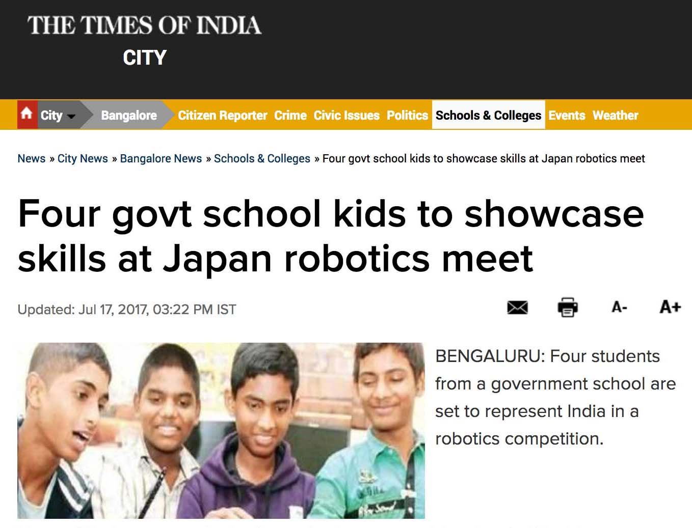 Four Government school kids to showcase skills at Japan robotics meet